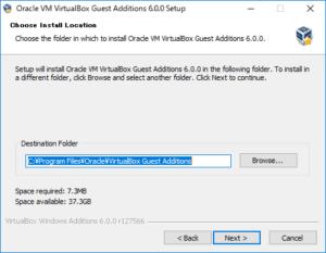 VirtualBox Guest Additions をインストールする時のインストールフォルダを選択する画面