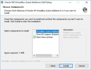 VirtualBox Guest Additions をインストールする時のコンポーネント選択画面