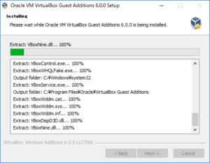 VirtualBox Guest Additions をインストールする時のインストール状況を示すプログレスバー